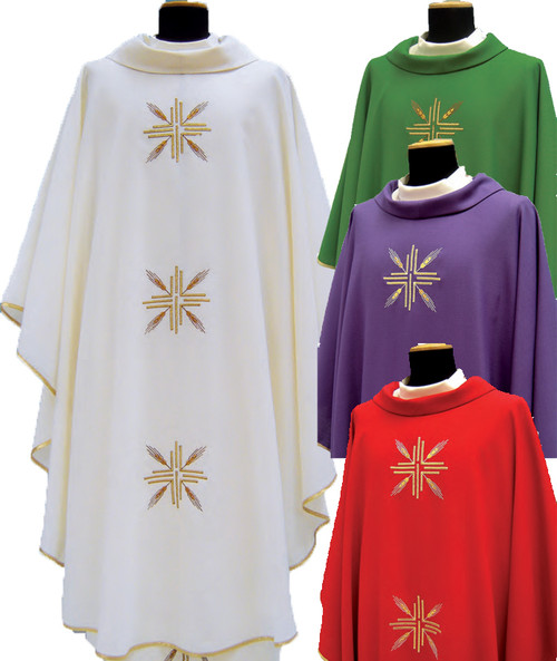 Chasuble in TASMANIA fabric (45% pure wool, 55% polyester). Roll collar, light weight fabric available for summer time. Embroidered on front and back with Cross/wheat pattern. Inside stole. Available in white, green, purple or red. . These items are imported from Europe. Please supply your  Institution's  Federal ID # as to avoid an import tax. Please allow 3-4 weeks for delivery if item is not in stock