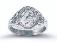 Sterling silver Our Lady of Perpetual Help Ring with Sacred Heart Inside.  Comes in a deluxe velour gift box. Sizes 5-9. Made in the USA.