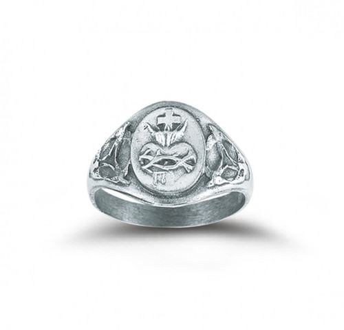 Sterling Silver Sacred Heart of Jesus Ring. Sizes 5-9.  Sacred Heart of Jesus sterling silver ring comes in a deluxe velour gift box. Made in the USA.