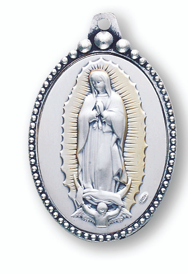 Sterling Silver Our Lady of Guadalupe Key Chain with flower motif on reverse side. Total length 3.5 inches