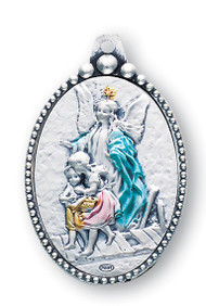Sterling Silver Guardian Angel Key Chain. Total length 3.5 inches