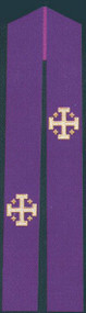 """Overlay stole is pictPriest Overlay or Deacon Stole  Beautifully Raised Multicolor Swiss Schiffli Embroidery  Lined and interlined texturized fortrel polyester Available in all liturgical colors Approximate dimensions 55"""" x 6""""ured"""