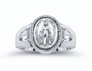 Sterling Silver.Miraculous Medal Ring. Bordered by two crystal cubic zirconium. Sizes 5-8. Miraculous Medal Ring comes in a deluxe velour gift box. Made in the USA. Limited Lifetime Guarantee from defects in material and workmanship