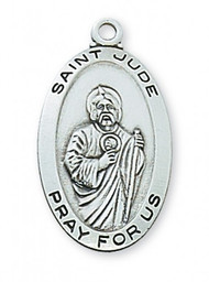 "Sterling Silver Saint Jude Medal ~  1 -1/16"" Sterling Silver Saint Jude Medal. St Jude Medal comes on an 18"" Rhodium  Curb Chain.  A Deluxe Gift Box is Included"