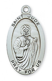 "Sterling Silver Saint Jude Medal.  Dimension: 1 1/8"" X 5/8"" on a 24"" rhodium chain. Gift Box Included"
