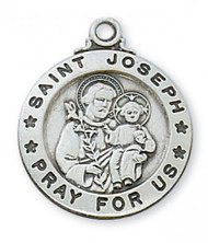 "3/4"""" Sterling Silver Saint Joseph Round Medal. St Joseph sterling silver round medal comes on a 20"" rhodium chain.  A deluxe gift box is included.  Made in the USA"