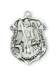"Sterling Silver 3/4"" Saint Michael Medal. 18"" Rhodium Chain. Deluxe Gift Box Included"