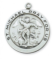 "1 - 2/16"" Sterling Silver Saint Michael Round Medal. St Michael Round Medal comes on a 24"" Rhodium Plated Chain. A Deluxe Gift Box Included. Made in the USA"