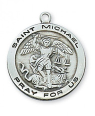 "Sterling Silver Saint Michael 3/4""  Round Medal. St Michael Round Medal comes on an 18"" rhodiium plated chain.  A deluxe gift box is included. Made in teh USA"