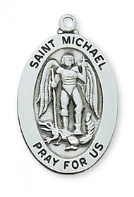 "1 - 2/16"" Sterling Silver Saint Michael Oval Medal.  St Micahel sterling silver oval medal comes on a 20"" rhodium plated chain. A Deluxe Gift Box Included"