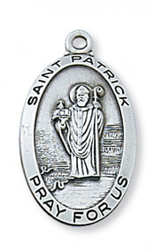 "Sterling Silver 1 -2/16"" Saint Patrick Medal. Sterling Silver Oval St Patrick Medal comes on a  24"" rhodium curb chain. Gift Box Included."