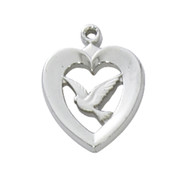 "1/2"" Heart with Dove Medal. Sterling Silver or Gold Plated Sterling Silver on an 18"" Rhodium Plated Chain. Gift Box Included"