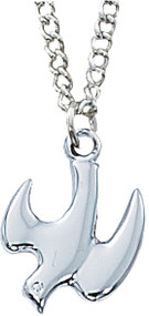 "1/2"" Sterling Silver Holy Spirit Medal. 18"" Rhodium Plated Chain. Deluxe Gift Box Included."