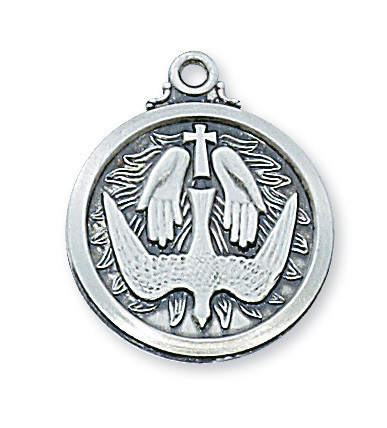 """3/4"""" D. Sterling Silver Holy Spirit Medal. Holy Spirit Medal comes on a 20"""" Rhodium Plated Chain. Deluxe Gift Box Included. Made in the USA!"""