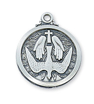"3/4"" D. Sterling Silver Holy Spirit Medal. Holy Spirit Medal comes on a 20"" Rhodium Plated Chain. Deluxe Gift Box Included. Made in the USA!"