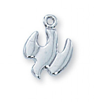 "3/8"" Sterling Silver Holy Spirit Medal on a 16"" Rhodium Plated Chain. Deluxe Gift Box Included"