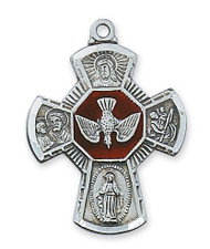 """Men's Sterling Silver 1-1/4"""" Enameled 4-Way Medal on a 24"""" Rhodium Plated Chain.  Deluxe Gift Box Included. Made in the USA."""