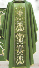 Chasuble in FIAMMATO fabric (100% pure wool) Roll collar Embroidered panel in front and back with gold and silver thread Inside stole Available in white, green, purple or red These items are imported from Europe. Please supply your Institution's Federal ID # as to avoid an import tax.  Please allow 3-4 weeks for delivery if item is not in stock