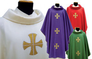 Chasuble in MONASTICO fabric (45% pure wool, 55% polyester). Roll collar. Embroidered on front and back with three crosses. Inside stole Available in white, green, purple or red.  These items are imported from Europe. Please supply your Institution's Federal ID # as to avoid an import tax.  Please allow 3-4 weeks for delivery if item is not in stock