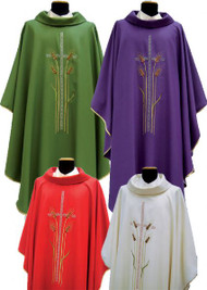 Chasuble in MONASTICO fabric (45% pure wool, 55% polyester). Roll collar. Embroidered with cross and wheat. Inside stole. Available in white, green, purple or red. These items are imported from Europe. Please supply your Institution's Federal ID # as to avoid an import tax. Please allow 3-4 weeks for delivery if item is not in stock.