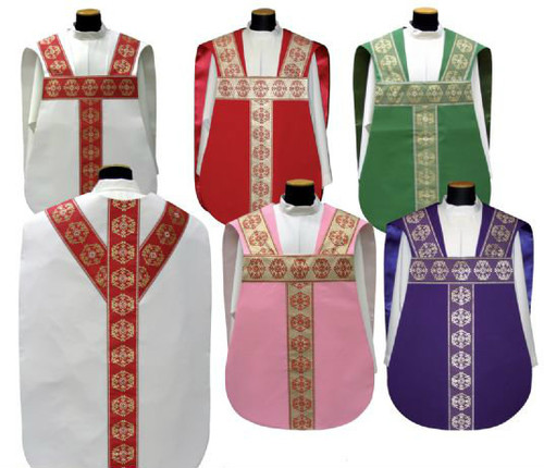 Roman chasuble in PRIMAVERA fabric (100% polyester) with banding. Available in white, red, green, purple and rose. Sold as a set with the fiddleback, or separately is the Maniple, Chalice Veil and Burse set.  These items are imported from Europe. Please supply your Intitution's Federal ID # as to avoid an import tax. Please allow 3-4 weeks for delivery if item is not in stock