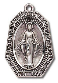 "15/16"" Sterling Silver  Miraculous Medal with a 24"" Chain"