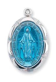 """1"""" Blue enamel Miraculous Medal with a 18"""" Chain.  Blue enameled Miraculous Medal is all sterling silver. Medal comes on a  18"""" genuine rhodium plated curb chain.  Dimensions: 1.0"""" x 0.7"""" (26mm x 17mm) Deluxe velour gift box included."""