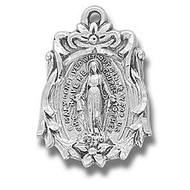 """Sterling Silver 13/16"""" Miraculous Medal.  Medal comes on an 18"""" genuine rhodium plated curb chain. Dimensions: 0.8"""" x 0.6"""" (21mm x 14mm) Deluxe velour gift box is included. Made in the USA. ."""