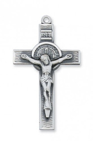 "1 - 3/4"" Sterling Silver Saint Benedict Crucifix.  Sterling Silver Saint Benedict Crucifix comes on a 24"" Rhodium Plated Continuous Chain. A  Deluxe Gift Box is Included"