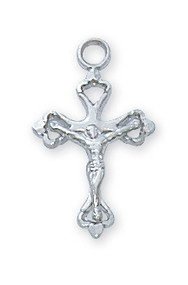 "Sterling Silver Crucifix  16"" Fine Rhodium Plated Chain  1/2"" Length  Deluxe Gift Box Included  Prices are Subject to Change Without Notice"