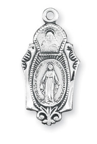 "Miraculous Medal with an 18"" Chain. Dimensions: 0.9"" x 0.4"" (23mm x 11mm). Medal is all sterling silver with a genuine rhodium-plated, stainless steel chain. Deluxe velour gift box"