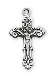 "Sterling Silver Crucifix 16"" Rhodium Plated Chain 3/4 x 3/8"" Deluxe Gift Box Included"