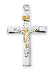 "1"" Sterling Silver Two Tone Crucifix. Crucifix comes on an 18"" Chain. A deluxe gift box is included"