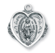 "1 1/8"" Miraculous Medal with a 20"" Chain. Medal is all sterling silver with a genuine rhodium-plated, stainless steel chain"