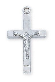 "3/4""  Sterling Silver Crucifix. The sterling silver crucifix comes on an 18"" Rhodium Plated Chain. A deluxe gift box is included."