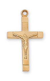 "13/16"" Gold Over Sterling Silver Crucifix. Crucifix comes on an 18"" Gold Plated Chain. A deluxe gift box is included."