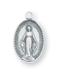 """7/16"""" Miraculous Medal with an 13"""" Chain. Medal is all sterling silver with a genuine rhodium-plated, stainless steel chain. Deluxe velour gift box. Made in the USA"""