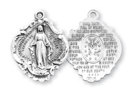 "1 1/16"" Sterling silver Baroque Miraculous Medal Pendant. Back side of medal has the Hail Mary Prayer. Baroque Miraculous Medal comes on a 24"" genuine rhodium plated endless curb chain. Dimensions: 1.1"" x 0.8"" (27mm x 21mm). Deluxe velvet gift box included. Made in the USA."