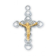 "7/8"" Sterling Silver Two Tone Crucifix. This Two Tone Sterling Silver Crucifix comes on an 18"" Rhodium plated chain. The Crucifix comes in a deluxe gift box."