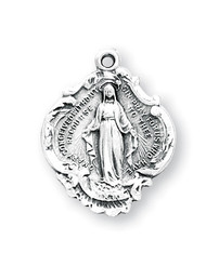 "3/4"" Miraculous Baroque style Medal. Baroque style Miraculous Medal comes on an 18"" genuine rhodium plated curb chain.  Dimensions: 0.8"" x 0.6"" (19mm x 15mm). Deluxe velour gift box included. Made in the USA."