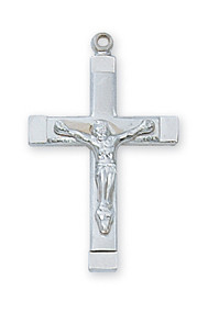 "3/4""  Sterling Silver Crucifix comes on an 18"" Rhodium Plated Chain. Silver Crucifix comes in a deluxe gift box."