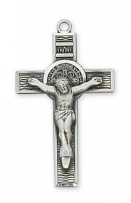 "Sterling Silver Saint Benedict 1 1/2"" x 3/4"" Crucifix. 18"" Rhodium Plated Chain. Deluxe Gift Box Included."