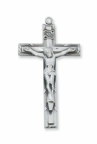 "1 3/4"" Sterling Silver Crucifix. Crucifix comes on a 24"" Rhodium Plated Curb Chain. Deluxe Gift Box Included"