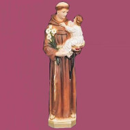 A Finely Detailed Statue of Saint Anthony Holding the Christ Child. Made of Vinyl this Statue is perfect for outdoor use. Available in Bronze, Wood, White, Color, Patina, & Granite