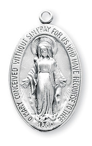 "1 3/8"" Oval Miraculous Medal with a 24"" Chain.  Medal is all sterling silver with a genuine rhodium-plated, stainless steel chain. Deluxe velour gift box. Price subject to change"