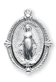 "1 1/16"" Miraculous Medal with a 24"" Chain  Medal is all sterling silver with a genuine rhodium-plated, stainless steel chain Deluxe velour gift box"