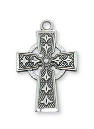 """1""""L Sterling Silver Celtic Cross. Celtic Cross Pendant comes on an 18"""" Rhodium Plated Chain. Deluxe Gift Box Included"""