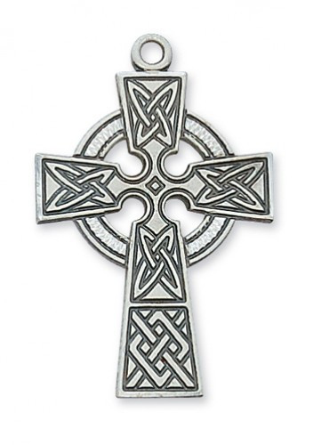 """1 7/16"""" Sterling Silver Celtic Cross on a  24"""" Rhodium Plated Chain. Deluxe Gift Box Included."""