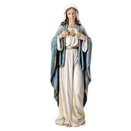 "Immaculate Heart of Mary Figurine. Resin-Stone Mix. Dimensions:  37""H x 12.5""W x 10""D"