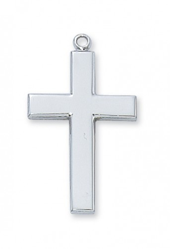 "Rhodium Plated Cross  24"" Chain. 1-1/4"" in Length.  Gift Box Included."